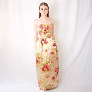 Rizik Bros Couture Floral Mid Century Dress 0468